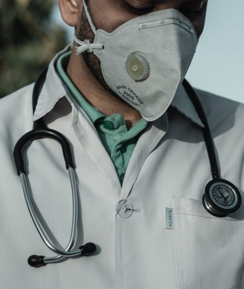 A doctor wearing a face mask